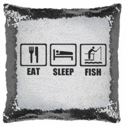 Подушка-хамелеон Eat, sleep, fish