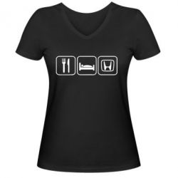 Женская футболка с V-образным вырезом Eat Sleep Honda - FatLine