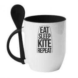 Купить Кружка с керамической ложкой Eat sleep kite repeat, FatLine