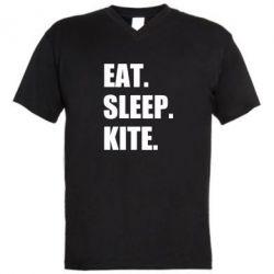 Чоловіча футболка з V-подібним вирізом Eat, sleep, kite