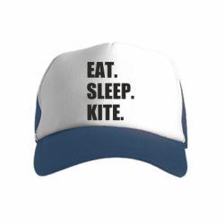 Дитяча кепка-тракер Eat, sleep, kite