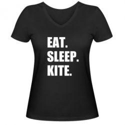 Жіноча футболка з V-подібним вирізом Eat, sleep, kite