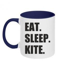 Кружка двоколірна 320ml Eat, sleep, kite