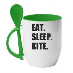 Купить Кружка с керамической ложкой Eat, sleep, kite, FatLine
