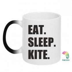 Кружка-хамелеон Eat, sleep, kite