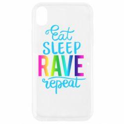 Чохол для iPhone XR Eat, sleep, RAVE, repeat
