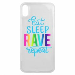 Чохол для iPhone Xs Max Eat, sleep, RAVE, repeat