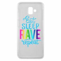 Чохол для Samsung J6 Plus 2018 Eat, sleep, RAVE, repeat