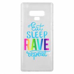 Чохол для Samsung Note 9 Eat, sleep, RAVE, repeat