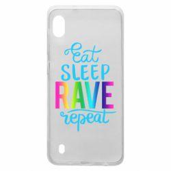 Чохол для Samsung A10 Eat, sleep, RAVE, repeat