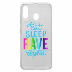 Чохол для Samsung A20 Eat, sleep, RAVE, repeat