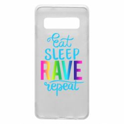 Чохол для Samsung S10 Eat, sleep, RAVE, repeat