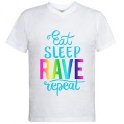 Чоловіча футболка з V-подібним вирізом Eat, sleep, RAVE, repeat