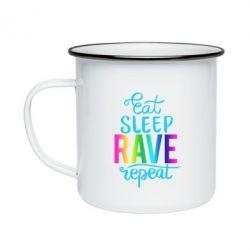 Кружка емальована Eat, sleep, RAVE, repeat