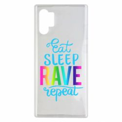 Чохол для Samsung Note 10 Plus Eat, sleep, RAVE, repeat