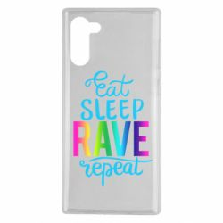 Чохол для Samsung Note 10 Eat, sleep, RAVE, repeat