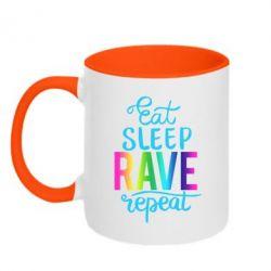 Кружка двоколірна 320ml Eat, sleep, RAVE, repeat
