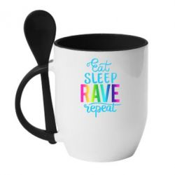 Кружка з керамічною ложкою Eat, sleep, RAVE, repeat