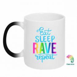 Кружка-хамелеон Eat, sleep, RAVE, repeat