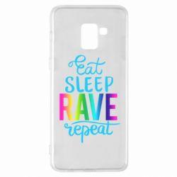 Чохол для Samsung A8+ 2018 Eat, sleep, RAVE, repeat