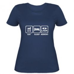 Женская футболка Eat, sleep, remont