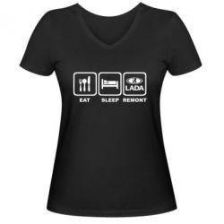 Женская футболка с V-образным вырезом Eat, sleep, remont