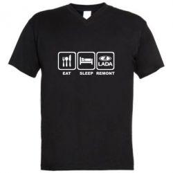 Мужская футболка  с V-образным вырезом Eat, sleep, remont