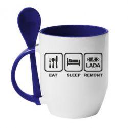 Кружка с керамической ложкой Eat, sleep, remont