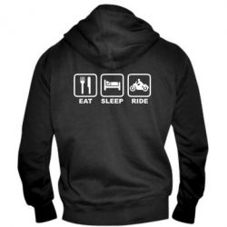 Мужская толстовка на молнии Eat, sleep, ride - FatLine