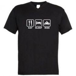 Мужская футболка  с V-образным вырезом Eat, sleep, ride - FatLine
