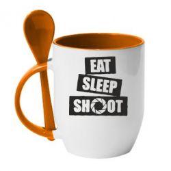 Купить Кружка с керамической ложкой Eat, sleep, shoot, FatLine