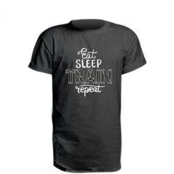 Подовжена футболка Eat, sleep, TRAIN, repeat