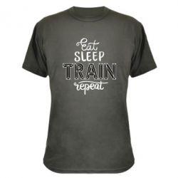 Камуфляжна футболка Eat, sleep, TRAIN, repeat