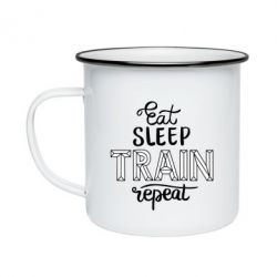 Кружка емальована Eat, sleep, TRAIN, repeat