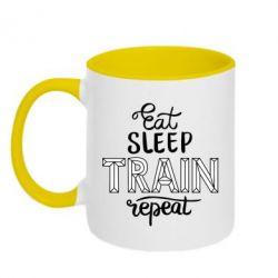 Кружка двоколірна 320ml Eat, sleep, TRAIN, repeat