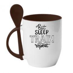 Кружка з керамічною ложкою Eat, sleep, TRAIN, repeat