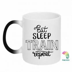 Кружка-хамелеон Eat, sleep, TRAIN, repeat