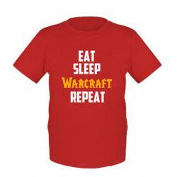 Детская футболка Eat sleep Warcraft repeat