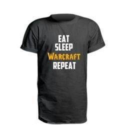 Удлиненная футболка Eat sleep Warcraft repeat