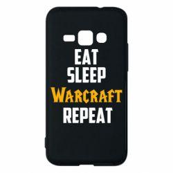 Чехол для Samsung J1 2016 Eat sleep Warcraft repeat