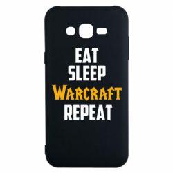 Чехол для Samsung J7 2015 Eat sleep Warcraft repeat