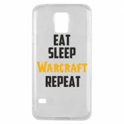 Чехол для Samsung S5 Eat sleep Warcraft repeat