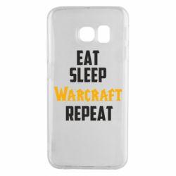 Чехол для Samsung S6 EDGE Eat sleep Warcraft repeat