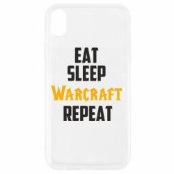 Чехол для iPhone XR Eat sleep Warcraft repeat