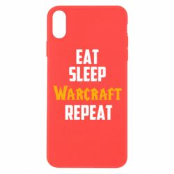 Чехол для iPhone Xs Max Eat sleep Warcraft repeat