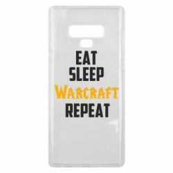 Чехол для Samsung Note 9 Eat sleep Warcraft repeat