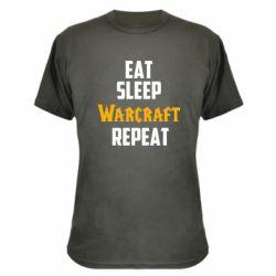 Камуфляжная футболка Eat sleep Warcraft repeat