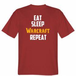 Мужская футболка Eat sleep Warcraft repeat