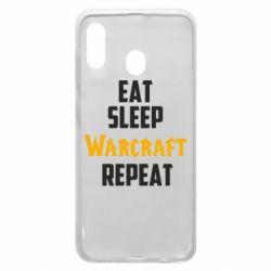 Чехол для Samsung A20 Eat sleep Warcraft repeat