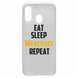 Чехол для Samsung A40 Eat sleep Warcraft repeat